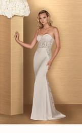 Wholesale Paloma Blanca Trumpet Lace - 2016 Lace Mermaid Wedding Dress With Beads Belt Strapless Sweetheart Neckline Romantic 4669 Paloma Blanca Bridal Gown Abiti Da Sposa Sep
