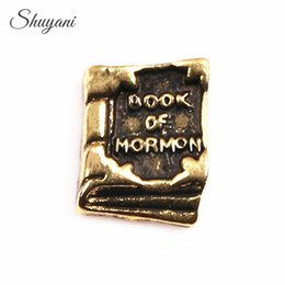 Wholesale Antiques Books - Wholesale-20pcs lot Newest Antique Gold Book Floating Locket Charms Word Book of Mormon Charms for Living Memory Locket