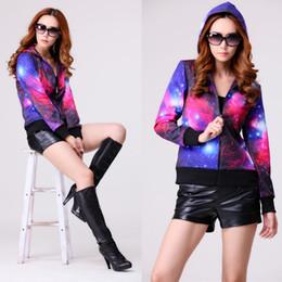 Wholesale Ladies Zip Up Hoodies - 4 Designs Galaxy Hoodie Jacket Women Hot Printed Hooded Sweatshirt For Ladies Zip Up Sweatshirt With Hood