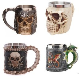 Wholesale Skull Mugs - Personalized Double Wall Stainless Steel 3D Skull Mugs Coffee Cup Mug Skull Knight Tankard Dragon Drinking Cup Fancy Decorations