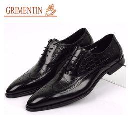 Canada GRIMENTIN 100% cuir véritable oxfords chaussures de mariage pour hommes style crocodile noir marron Robe italienne hommes formelle chaussures grande taille chaussures homme supplier brown crocodile shoes Offre