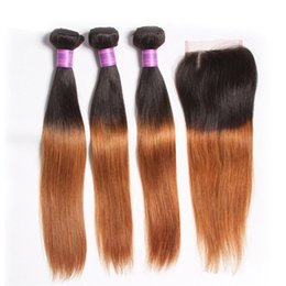 Wholesale Dhgate Ombre Weave - Silky Straight Ombre Human Hair Bundles With Closure Two Tone 1b 27 1b 30 Brazilian Straight Ombre Weaves Closure 4pcs Dhgate Wholesale