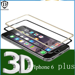 Wholesale Curved Metal - Metal edge Full Cover Tempered Glass Screen Protector Film for iphone 6 6s 6 6s plus 0.26mm 3D 9H Explosion proof without box
