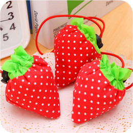 Wholesale Strawberry Foldable Purple - New Special Shopping Bags Portable Creative strawberry shape Foldable bag gift Reusable Environmental shopping storage bag Tote Bags