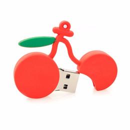 Wholesale Usb Thumb Drive 2gb - Red Cherry Fruit Cartoon USB Flash Drives Thumb Pen 2GB 4GB 8GB 16GB 32GB 64GB