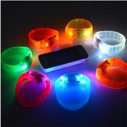 Wholesale Sound Wrist - Voice Control Sound Activated Sensor LED Flashing Bracelet Glowing Shining Bracelets Bangle WristBand Wrist Strap Party Bar Disco decoration