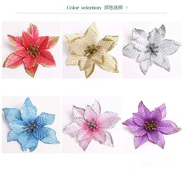 Wholesale Outdoor Wedding Supplies - 13 CM Shiny Christmas Flower Poinsettia Flower Christmas Tree Decoration Artificial Flowers Wedding Party Decoration Festive Party Supplies