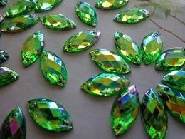 Wholesale Acrylic Rhinestones 12mm - Sew on rhinestones Green AB colour stones Acrylic crystal 6*12mm Navette Shape Flatback strass Diamond Gemstone 300pcs