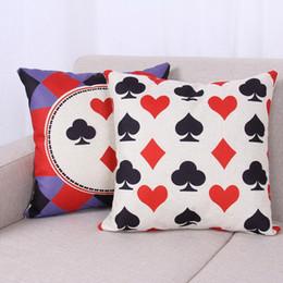 Wholesale Poker Styles - Pillowcase Modern Sense of the Living Room Sofa Pillow Poker Style Fashion Pattern Thick Text Art Linen Pillow Cushion Covers Home Decor