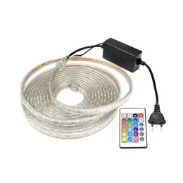 Wholesale Outdoor Rgb Controller - AC 220V Silicone Tube Waterproof LED Strip Light 5050 Neon RGB LED String Lamp Outdoor Tape Home Decoration 24key Controller DIY