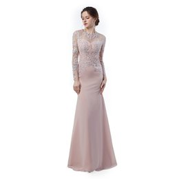 Wholesale Cheap Homecoming Dresses Simple - Elegant Evening Dresses Vestidos Longos Para Formatura 2017 Long Sleeve Prom Dresses Mermaid Cheap Long Party Gowns