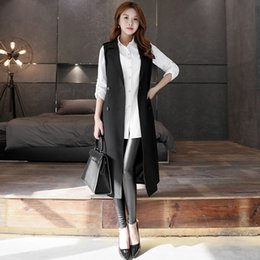 Wholesale Womens Puff Jackets - Female knitted vest suit collar jacket windbreaker vest LONG 2016 new spring tide Han Qiu OL Womens cardigan