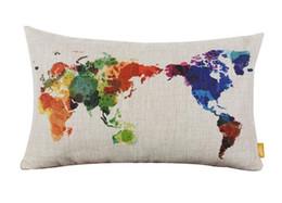 Wholesale Maps Memory - European Cushion World Map Cotton Linen Home Throw Pillows Cushions Decorative Throw Pillow Wholeslae #85129