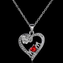 Wholesale Diamond Necklace Pendant Designs Silver - 2016 New Fashion Mother's Day Gift Red Crystal Love Diamond Necklace Antique Silver Plated Carved Rose Pendant MOM Letters Hollow out Design