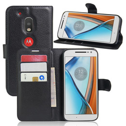 Wholesale Play Free Slots - For Motorola MOTO G4 play 5inch Fashion Litchi Pattern PU Leather Wallet Stand Case Cover with Card Slot+Free Touch Pen