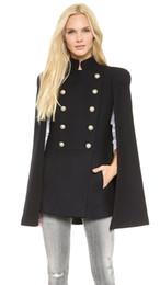 Wholesale Uniform Cloaks - Top Quality Women's Designer Double Breasted Cape Coat Sleeveless Uniform Jacket Stand Collar Woolen Windbreaker Fashion Cloak Outerwear