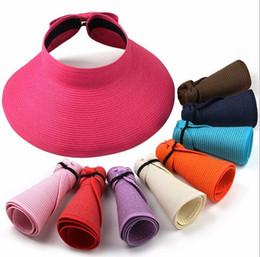 Le signore rotolano i cappelli del sole online-Fashion Sun Cappelli estivi per donna Lady pieghevole Roll Up Sun Beach Cappello a visiera larga con visiera in paglia con multi-colore