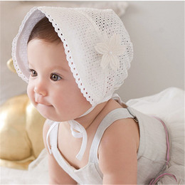 Wholesale Spring Lace Hats - Toddler Infant Sun Caps Sweet Princess Hollow Out Baby Girl Hat Summer Lace-up Beanie Pink White Cotton Hat Bonnet Enfant for Kids Girl HT01