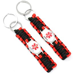 Wholesale Green Medicals - (10 PCS lot) Medical Alert Diabetic Awareness Paracord key Chain For Women Men Outdoor Survival Red Black Fashion Accessories
