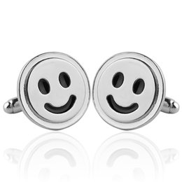 Wholesale Sign Accessories - Smiley Symbol Cufflinks Silver Plated Smile Sign French Cufflinks Men And Women Accessories Happiness Symbol Wedding Cuff-Button 6