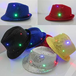 Wholesale Jazz Dresses - LED Jazz Hats Flashing Light Up Led Fedora Trilby Sequins Caps Fancy Dress Dance Party Hats Men Women Christmas Festival Carnival Costumes