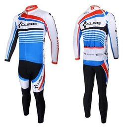 Wholesale Pro Bike Equipment - Cycling jersey CUBE blue with white clothing ropa ciclismo Pro Cycling Mountain Bike Equipment maillot cycliste roupas cyclist