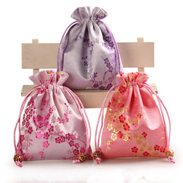 Wholesale wedding favor tea bags - Thick Cherry blossoms Small Cloth Gift Bags Drawstring Packaging Silk Brocade Jewelry perfume Makeup Tools Storage Pouch Candy Tea Favor Bag