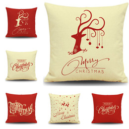 Wholesale Christmas New Year Covers - Christmas Reindeer Cushion Cover Happy New Year Pillow Cover Christmas Reindeers Pillow Case Home Decor Pillowcases