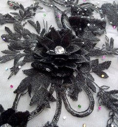 Wholesale Clothes Accessories Decorations - 26*43cm big 3D black sequined flower embroidery paillette on black mesh patch applique for dress, clothes decoration DIY