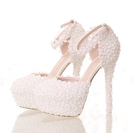 Wholesale Custom Bridesmaid Shoes - Vintage Full Lace Wedding Dresses For Girls With Pearls Stiletto High Heels Slip-On 2016 Custom Made Cheap Bridesmaid Bridal Party Shoes