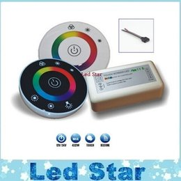 Wholesale remote touch dimmer - NEW RGB controller DC12V 24V 18A Wireless Touch LED Controller RF Touch Panel LED Dimmer RGB Remote Controller for 5050 3528 RGB