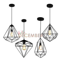 Wholesale Bronze Art Deco Lamps - Industrial Style Metal Hanging Caged LED Pendant Lights Vintage Rubbed Bronze Art Deco LED Ceiling Pendant Lamps