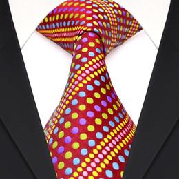 Wholesale Unique Neck Ties - Free Shipping F4 Red Multicolor Colorful Polka Dots Stripes Mens Ties Necktie 100% Silk Jacquard Woven Unique