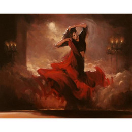 Wholesale Abstract Modern Figure Painting - Modern art Flamenco Spanish Dancer oil paintings reproduction Portrait painting for wall decor High quality