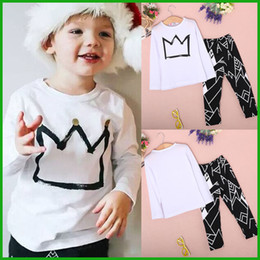 Wholesale Grow Cotton - Grown geometric baby boys toddler clothing set sring autumn style long sleeve long pants outfit children clothes set free shipping
