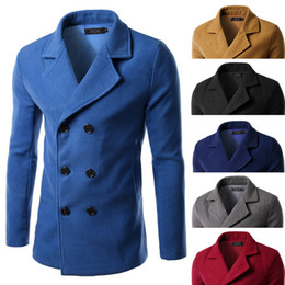Wholesale Trench Coat Wool Collar Men - New Arrival Men Winter Wool Coat Turn down Collar Man Casual Trench Coat Winter Long Jacket Top Quality men clothing