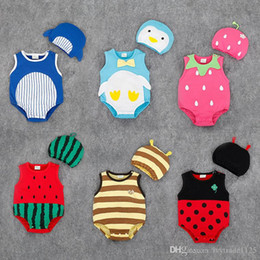 Wholesale Kids Clothes High Quality Boys - RMY24 NEW 6 Designs infant Kids Fruit Print Cotton Triangle Romper High Quality baby Climb clothing boy girls Romper Summer Romper +hat