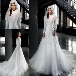 Wholesale Muslims Hijab Caps - 2017 New Long Sleeves Lace Wedding Dresses White High Neck A Line Muslim Arabic Hijab Wedding Gowns Buttons Back BA4029