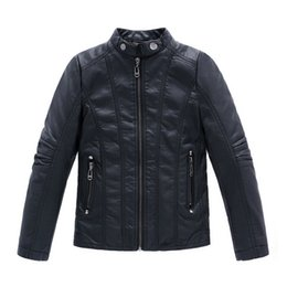 Wholesale Kids Leather Jacket 3t - High Quality 2015 New Fashion Autumn Spring Boys Girls PU Leather Jackets Children 4-16Y Clothing Kids Warm Coat Outerwear