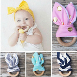 Wholesale Wholesale Wooden Fabrics - Infant baby Teethers Teething Ring teeth Fabric and Wooden Teething training Crinkle Material Inside Sensory Toy Natural teether bell