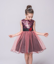 Wholesale Pleat Cyan - 2016 Baby girls holidays dress sleeveless girl's prom dresses kids sequin tutu skirts children party dress with flower brooch boutiques