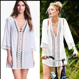 Wholesale Women See Through Bikinis - Bikini Cover Up 2016 New Women Sexy Bikini Cover Up Lace Hollow Crochet Swimwear Beach Dress Beach Swimwear Dress See Through Cover Up Cover