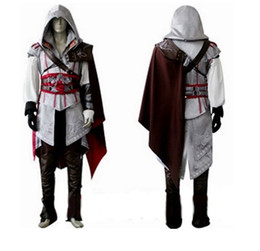 Wholesale Ezio Costume Assassin - High Quality Custom Made Ezio Costume Edward Kenway Costume Cosplay Assassins Creed Costume For Kids Free Shipping