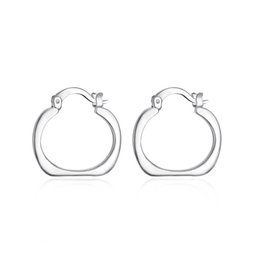 Wholesale Ear Jewellry - Fashion Jewellry Easter Day 925 Silver Hoop Earrings , Party Smooth Shaped Ear rings Mark 925 Jewelry Free Shipping e123