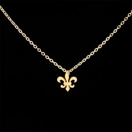 """Wholesale Fleur Lis Silver Pendant - Wholesale 10Pcs lot Fashion Stainless Steel Jewelry Pendant Pretty """" Fleur De Lis """" Iris Flower Gold Chains Statement Necklace For Women"""