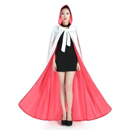 Wholesale Real Fur Shawl Long - Real Image Faux Fur Halloween Hooded Cloaks Fashion Women White Red Shawls Perfect For Winter Medieval Long Costumes Wraps