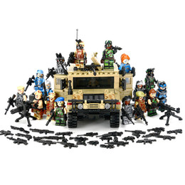 Wholesale Hummer Sales - Hot sale Military Hummer Car With Many Weapons World War Assault Military Soldier Weapon Model Building Blocks Toys Compatible Lepin