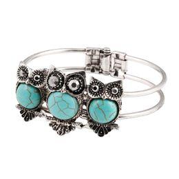 Wholesale China Owl - Antique Silver Owl Turquoise bracelets fashion jewelry green turquoise charm bracelets retro bracelet silver plated bangle TB0006