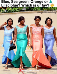 Wholesale Turquoise Tea Length Dresses - 2016 Mermaid Off Shoulder Hi Low Cheap Tea Length Turquoise Bridesmaid Dresses Sexy V Neck Party Prom Dresses