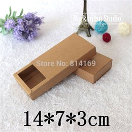 Wholesale Cardboard Tea Box - Brown Drawer Cardboard Boxes Soap Gift Tea Jewel Bow Tie Bakery Cookie Packaging Kraft Paper Boxes 14*7*3cm Free Shipping